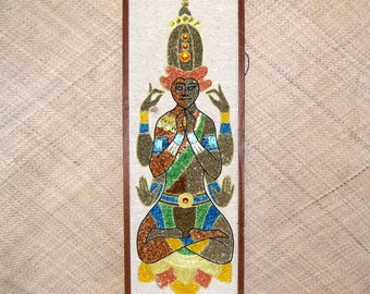 1950's Gravel Art Hindu God Picture Vintage
