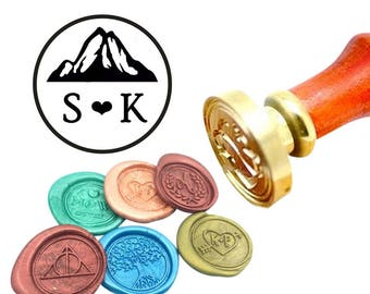 Initials & Mountains Wax Seal Stamp Mountains Sealing Wax Stamp Kit Mountains Wax Stamp Custom Initial Date Wedding Invitation Wax Seal Kit