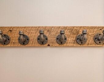 6 Hook Rustic / Industrial Reclaimed Barn Wood Coat Hanger