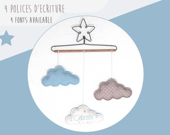 Mobile Star baby name and clouds - sky blue and beige wall decor