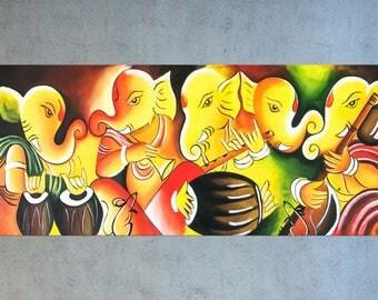 Indian art, Ganesha Painting, Contemporary art, Figurative art, Ganpati wall art, Home decor, Hindu God, Painting on canvas, Music art