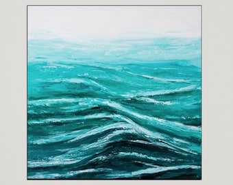 "Ocean painting, Palette knife Waves, Seascape beach art, Acrylic Abstract, Impasto Texture painting, Modern wall art, Home Decor 20""."