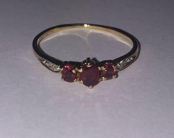 Three-Stone Ruby & Diamond Vintage Ring