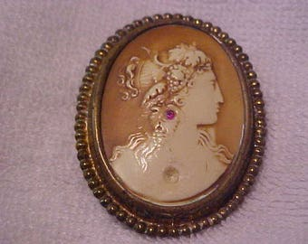 1920's cameo with ruby stone jewelry old vintage