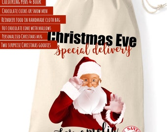 Personalised Christmas Eve bag ( filled)