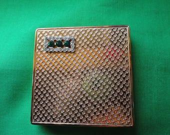Vintage Richard Hudnut Compact with Green Rhinestones