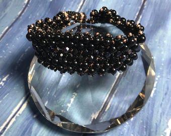 Luxury black agate beaded cuff bracelet: seed bead bracelet; czech beaded cuff; black agate bracelet; luxury gift for her; black bracelet