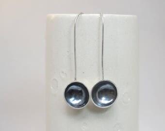 Sterling silver domed dangle earrings