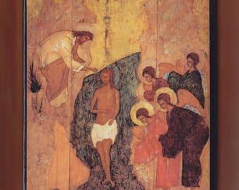 St John Baptizing Jesus Icon, The Baptism of Jesus. Christian orthodox icon.FREE SHIPPING