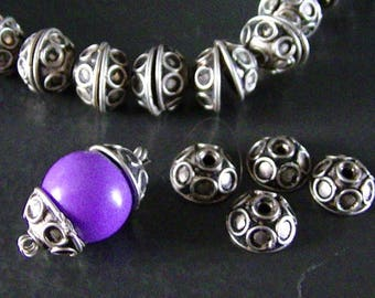 LAST BATCH! 10 PEARLS CAPES HANDCRAFTED BALI STYLE ROUND METAL 11MM