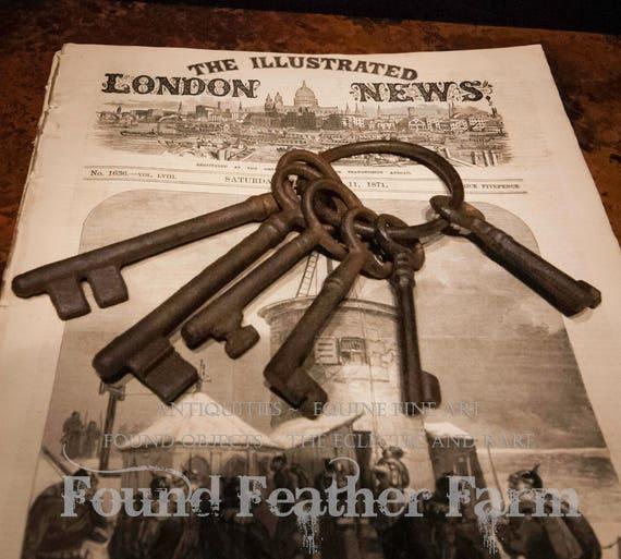Vintage Set of Five Rusted Jailers Keys on RIng