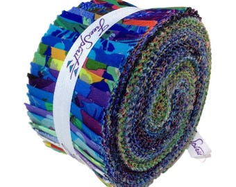 "Kaffe Fassett, Shade Spring 2017 Collective-Design Roll 40 pc. 2.5"" Strip Set , Rowan Fabric, Westminster Fabric, Jelly Roll Fabric"