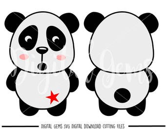 Panda svg / dxf / eps / png files. Digital download. Compatible with Cricut and Silhouette machines. Small commercial use ok.
