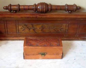 Leather Box with Brass Hardware And Tooled Leaf Pattern- Very Nice