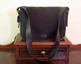 Coach Messenger Laptop Bag In Nylon And Black Leather Trim With Silver Tone Hardware Style No 5118- EUC