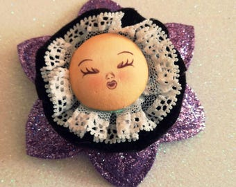 Hair clip and brooch #handmade #hairclip #fommy #doll #face #brooch