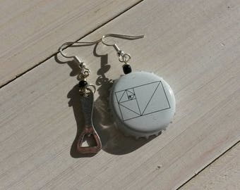 Bottle Cap earrings and a bottle opener