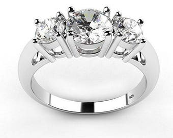 3 Stone - Wedding/Engagement Ring Sterling Silver 925 Cubic Zirconia CZ