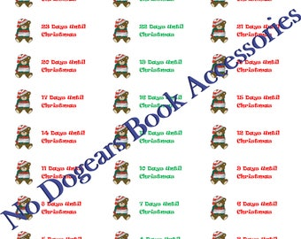 Christmas Countdown Stickers / Planner Stickers / Calendar Stickers / Days Until Christmas Stickers