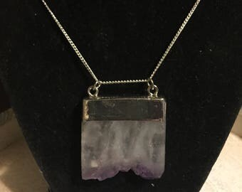 Genuine amethyst crystal necklace on sterling silver chain