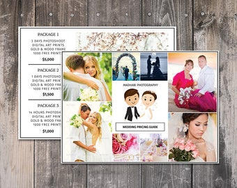 Photography Pricing Template - Price Guide List for Photographers - Photoshop Template - Wedding Pricing Template - Wedding Price List