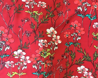 Floral Print Rayon Challis - Deep Red/Coral Pink/Leaf Green