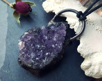 Amethyst chunk cluster necklace, dark purple crystal large electroformed statement pendant jewelry black copper