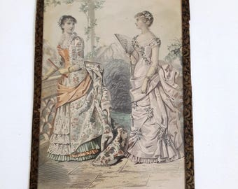Victorian hand colored picture from antique french magazine page La Mode Illustree, 1870's