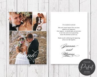 Wedding Thank Your Cards, Photo Thank You Cards, Calligraphy Font, 3 photos, Professionally Printed - Peach Perfect Australia