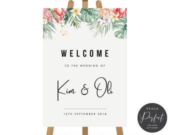 Printable Wedding Welcome Sign, Tropical Wedding Poster, Monsteria, Digital DIY or Professional Printing, Kimberley Suite