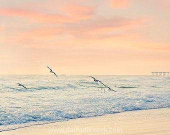 Beach Photography, Peach Wall Art, Beach Photo, Bedroom Wall Art, Bathroom Wall Decor, Seagull Photo, Beach at Sunset, Pastel Color Photo