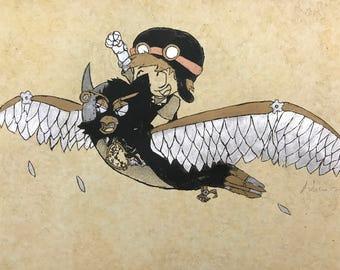 Steampunk Boy and Crow