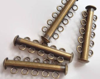5 Strand Tube Slide Clasp, 4 pieces - Choice of Copper, Gold, Antiqued Brass or GunMetal, Five Strand, Slde Clasp, Tube Clasp, Peyote Clasp