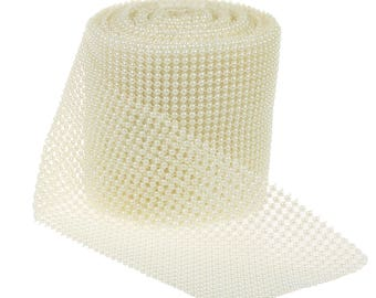 24 Rows Ivory Artificial Pearl Mesh Ribbon Wedding Party Home Decor DIY Wrap Ribbons 4.5 Inches Wide( CTJZ21-PM-)