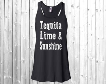 Tequila Lime And Sunshine Tank Top Women's Flowy Racerback, Tequila Tank Top, Drinking shirt, funny drinking tank, Tequila Tank, gym tank