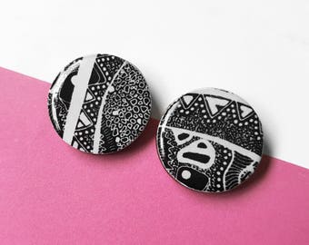 """25mm studs – """"Monochrome"""" (wearable art, eco wood, abstract)"""