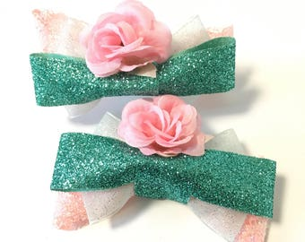 Giselle hair bow, Disney princess, Enchanted, pink, green, rose, clip, accessory, glitter, women, girls, Valentine's Day, gift, birthday,