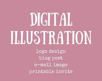 DIGITAL ILLUSTRATION // digital watercolour logo, watercolour logo, watercolour illustration, blog illustration, personalized illustration