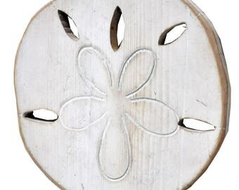 Wood sand dollar White Painted Wall Decor  (EA)