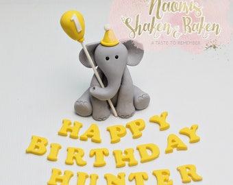 1X Edible elephant happy birthday name & age fondant cake topper set 7-10cm