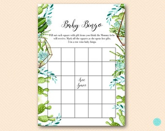 Cactuc Succulent Bingo Baby Shower Game, Baby Shower Bingo, Baby Shower Bingo Cards, Baby Shower Games, Games Printable TLC519