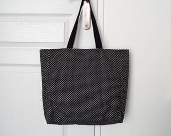 Black Tote with small white dots