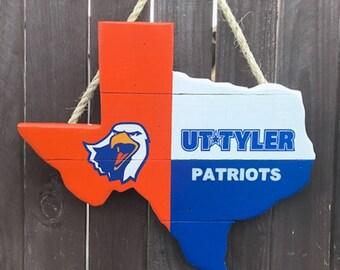 Rustic Wooden University of Texas/Tyler - Texas Shaped Flag Door/Wall Hanging