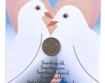 Wedding Anniversary LUCKY SILVER SIXPENCE Fun Gift or Greetings Card, Free U.K. 1st Class Post