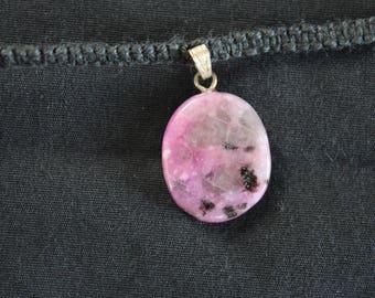 Hemp necklace with purple jasper pendant
