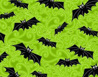 Halloween Fabric, Fangtastic, Black Bats Halloween Fabric, Glow in the Dark Halloween Fabric, by Henry Glass 1098-66