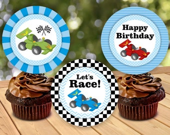 Race car cupcake toppers INSTANT DOWNLOAD thank you card Birthday Blue Red Green boy Digital Party Printable CTCar1