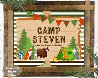 Camp Theme Poster or Sign Birthday Party Welcome Printable Rustic Boy Girl woodland animals wolf bunny bear fox raccoon deer WSCamp2