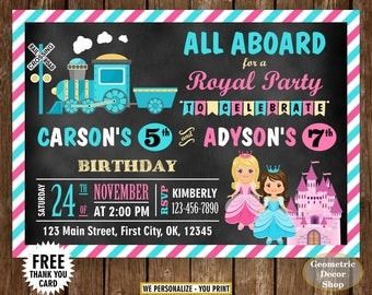 Train / Princess / Birthday / invite / invitation / Siblings / Dual / double / combined / twins / joint / chalkboard / castle / pink blue S2