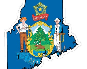 Maine State (Q20) Shape Flag Vinyl Decal Sticker Car/Truck Laptop/Netbook Window